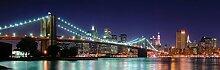 1art1 New York - Panorama Der Brooklyn Bridge Bei