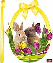 1art1 Ostern - Nest Mit Osterhasen Und Tulpen,