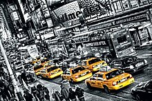 1art1 Set: New York, Taxi Schlange Am Times Square