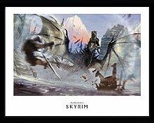 1art1 Skyrim - Alduin Gerahmtes Bild Mit Edlem