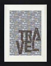 1art1 Typografie - Travel Gerahmtes Bild Mit Edlem