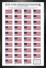 1art1 USA Poster und MDF-Rahmen - Geschichte Der
