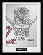 1art1 Westworld - Face Gerahmtes Bild Mit Edlem