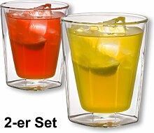1aTTack.de 833390 Trink/Thermo-Glas 200 ml doppelwandig Modell Selin für Heiß- und Kaltgetränke, 2-Stück