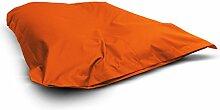 1buy3 Sitzsack Orange XXL 145cm x 180cm komplett befüllt | IN- und OUTDOOR | Waschbar da Sitzkissen mit Reißverschluss