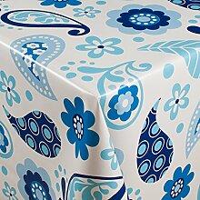 1buy3 Wachstuch   Viele Farben, Muster und Längen   Tischdecke Biertischdecke mit Fleecerücken (Folklore Weiß/Blau, 250cm x 140cm)