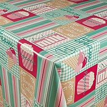 1buy3 Wachstuch   Viele Farben, Muster und Längen   Tischdecke Biertischdecke mit Fleecerücken (Ice Cream Mint/Rosa, 150cm x 140cm)