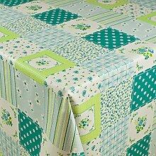 1buy3 Wachstuch   Viele Farben, Muster und Längen   Tischdecke Biertischdecke mit Fleecerücken (Blumenquadrate Türkis, 150cm x 140cm)