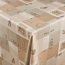 1buy3 Wachstuch   Viele Farben, Muster und Längen   Tischdecke Biertischdecke mit Fleecerücken (Cafe Beige, 250cm x 140cm)