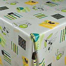 1buy3 Wachstuch   Viele Farben, Muster und Längen   Tischdecke Biertischdecke mit Fleecerücken (Olives 2, 200cm x 140cm)