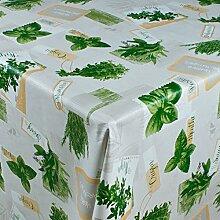 1buy3 Wachstuch   Viele Farben, Muster und Längen   Tischdecke Biertischdecke mit Fleecerücken (Kräuter auf Weiß, 250cm x 140cm)