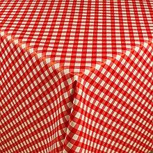1buy3 Wachstuch   Viele Farben, Muster und Längen   Tischdecke Biertischdecke mit Fleecerücken (Rot Kariert, 150cm x 140cm)