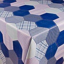 1BUY3 Wachstuch   VIELE FARBEN, MUSTER UND LÄNGEN   Tischdecke Biertischdecke mit Fleecerücken (blaue Sechsecke, 250cm x 140cm)