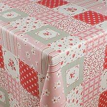 1buy3 Wachstuch   Viele Farben, Muster und Längen   Tischdecke Biertischdecke mit Fleecerücken (Blumenquadrate Rosa, 150cm x 140cm)
