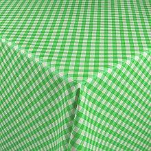 1buy3 Wachstuch   Viele Farben, Muster und Längen   Tischdecke Biertischdecke mit Fleecerücken (Grün Kariert, 200cm x 140cm)