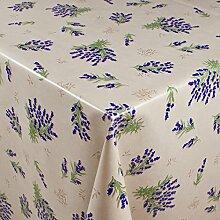 1BUY3 Wachstuch   VIELE FARBEN, MUSTER UND LÄNGEN   Tischdecke Biertischdecke mit Fleecerücken (Lavendel auf weiß, 250cm x 140cm)