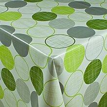 1buy3 Wachstuch   Viele Farben, Muster und Längen   Tischdecke Biertischdecke mit Fleecerücken (Ringe Grün, 200cm x 140cm)