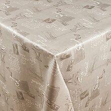 1buy3 Wachstuch   Viele Farben, Muster und Längen   Tischdecke Biertischdecke mit Fleecerücken (Paris Grau, 200cm x 140cm)
