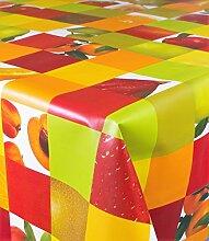 1BUY3 Wachstuch   VIELE FARBEN, MUSTER UND LÄNGEN   Tischdecke Biertischdecke mit Fleecerücken (Quadrate Früchte, 200cm x 140cm)
