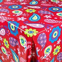 1buy3 Wachstuch   Viele Farben, Muster und Längen   Tischdecke Biertischdecke mit Fleecerücken (Folklore Rot, 200cm x 140cm)