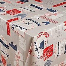 1BUY3 Wachstuch   VIELE FARBEN, MUSTER UND LÄNGEN   Tischdecke Biertischdecke mit Fleecerücken (Tradition dunkelblau/rot, 150cm x 140cm)