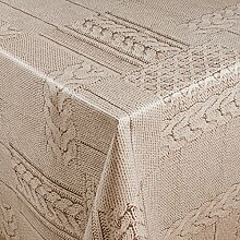 1buy3 Wachstuch   Viele Farben, Muster und Längen   Tischdecke Biertischdecke mit Fleecerücken (Wolldecke Creme, 250cm x 140cm)