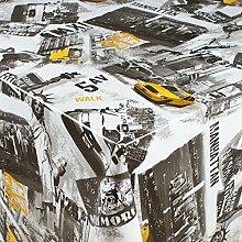 1buy3 Wachstuch   Viele Farben, Muster und Längen   Tischdecke Biertischdecke mit Fleecerücken (New York Streets, 200cm x 140cm)