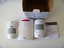 1byone Drahtloser Infrarot Bewegungsmelder, Auffahrts-Alarmset, 2 Bewegungsmelder & 1 batteriebetriebene Empfänger