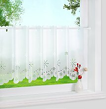 1er Pack halbtransparent Lasercut Blumen-Motiv Scheibengardine Weiß HxB 60x120cm