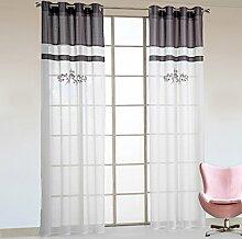 1er-Pack Stickerei halbtransparente Gardine luftige Schal Vorhang mit Ösen Grau BxH 140x245cm