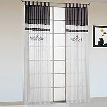 1er-Pack Stickerei halbtransparente Gardine luftige Schal Vorhang mit Schlaufen Grau BxH 140x245cm