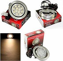 1er Set 12V Power LED Möbel Schrank Küchen Einbauleuchte Möbelleuchte Einbaustrahler Spot Möbeleinbaulampe Moo 20 Grad schwenkbar IP20 Warmweiss 3 Watt LED gleicht einer 30 Watt Lampe ohne Trafo