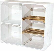1er Set Holzschrank -weiß-geflammt - schöner