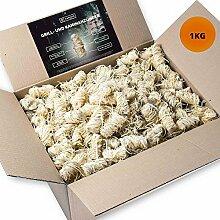 1kg Anzünder aus Holzwolle und Wachs I Giftfrei & Geruchlos & rauchfrei mit intensiver Brenndauer I perfekt als Kamin-Anzünder, Ofen- oder Grillanzünder
