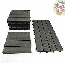 1m² WPC Fliesen 11x Klickfliese anthrazit / grau Holz-Optik für Balkon Terrassenfliesen von Gartenpirat®