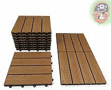 1m² WPC Fliesen 11x Klickfliese teak / braun Holz-Optik für Balkon Terrassenfliesen von Gartenpirat®