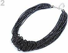 1pc 2 Stahl Grau Seed Bead Knot Halskette,