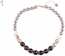 1pc Darkbeige Gold Imitation Perle Armband, Glas,