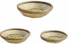 1pc Hohlen Flachen Bambus Woven Basket Startseite