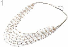 1pc Lightbeige Multi-row-Perlen Bib Halskette,
