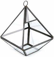 1pc Ransparent Schwarz Glas Pyramidenform Garten