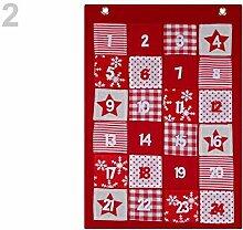 1pc Rot Patchwork Adventskalender, Weihnachten