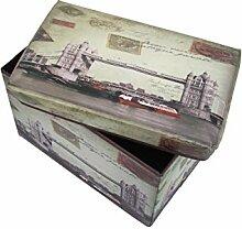 1PLUS faltbarer Sitzhocker Fußbank Sitzbank Aufbewahrungsbox , 48 x 30 x 30 cm, in verschiedenen Designs (Tower Bridge)