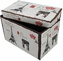1PLUS faltbarer Sitzhocker Fußbank Sitzbank Aufbewahrungsbox , 48 x 30 x 30 cm, in verschiedenen Designs (Paris)