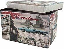 1PLUS faltbarer Sitzhocker Fußbank Sitzbank Aufbewahrungsbox , 48 x 30 x 30 cm, in verschiedenen Designs (Big Ben)