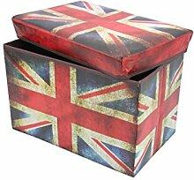 1PLUS faltbarer Sitzhocker Fußbank Sitzbank Aufbewahrungsbox , 48 x 30 x 30 cm, in verschiedenen Designs (Union Jack / Groß Britanien)