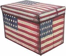 1PLUS faltbarer Sitzhocker Fußbank Sitzbank Aufbewahrungsbox , 48 x 30 x 30 cm, in verschiedenen Designs (Stars / Stripes / USA)