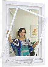 1PLUS Insektenschutz Alu Spannrahmen System premium für Fenster, in verschiedenen Größen und Farben verfügbar - ohne Bohren montierbar (100 x 120 cm, Weiß)
