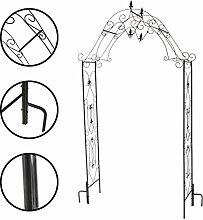 1PLUS robuster Rosenbogen aus Stahl, Gartentor aus Metall Kordes, Edelrostoptik oder Schwarz (Schwarz)