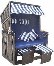 1PLUS Strandkorb Strandstuhl Juist inkl. Schutzhülle in versch. Farben (Blau)